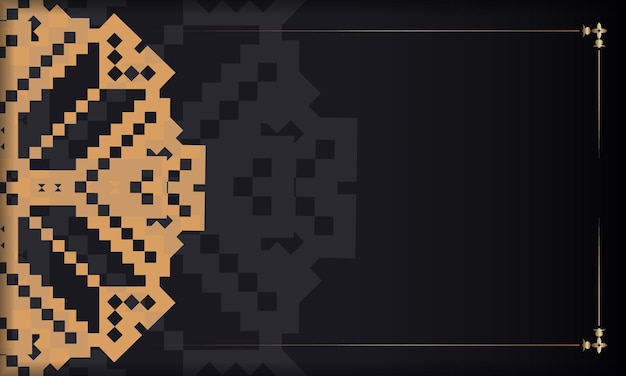 豪華なパターンでポストカードプリントデザインのテンプレート。スロベニアの装飾品とあなたのテキストとロゴのための場所と黒のベクトルバナー。