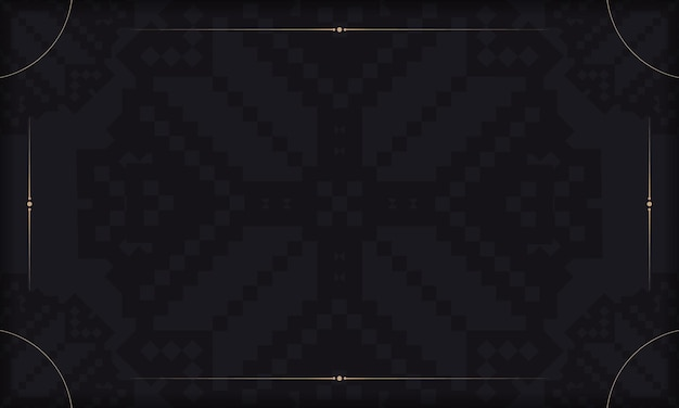 豪華な飾りが付いたはがきプリントデザインのテンプレート。スラブのヴィンテージの装飾品とあなたのロゴの場所と黒の背景。