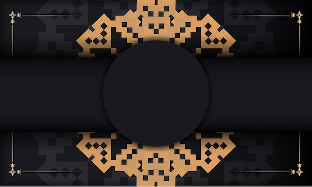 豪華な飾りが付いたはがきプリントデザインのテンプレート。スロベニアの装飾品とあなたのロゴとテキストのための場所と黒のベクトルバナー。