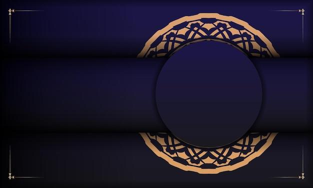 ヴィンテージの飾りが付いたポストカードプリントデザインのテンプレート。豪華なヴィンテージの装飾品とあなたのロゴの場所と青い背景。