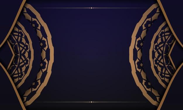 ヴィンテージの飾りが付いたポストカードプリントデザインのテンプレート。あなたのロゴの豪華な装飾品と青いベクトルバナー。
