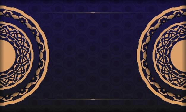 ヴィンテージパターンのポストカードプリントデザインのテンプレート。豪華な装飾品とあなたのテキストとロゴのための場所と青いベクトルバナー。