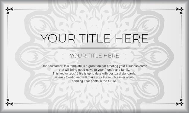Шаблон для полиграфического дизайна фона со старинными узорами. белый баннер с орнаментом мандалы и место для вашего логотипа.