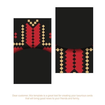 Шаблон для полиграфического дизайна визиток черного цвета со словенским орнаментом. векторная подготовка визитной карточки с местом для текста и роскошными узорами.