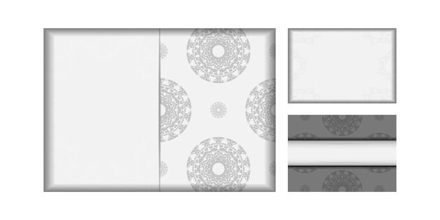 プリントデザインポストカードのテンプレート黒の曼荼羅模様の白い色。あなたのテキストと装飾品のための場所で招待状を準備します。