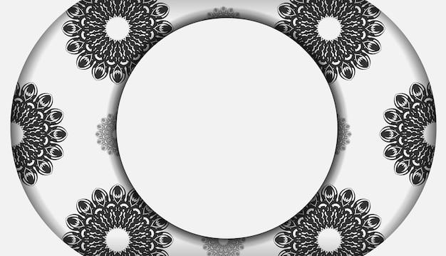인쇄 디자인 엽서 서식 파일 만다라 장식으로 흰색 색상입니다. 벡터 텍스트와 검은색 패턴을 위한 장소가 있는 초대 카드를 준비합니다.