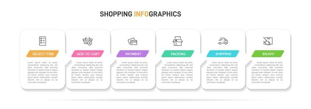 ショッピングインフォグラフィックイラストのテンプレート