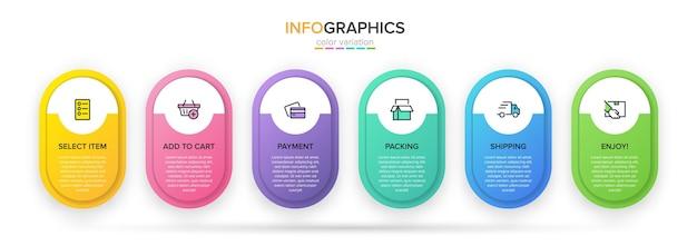 ショッピングインフォグラフィックのテンプレート。アイコンとテキストを含む6つのオプションまたはステップ。
