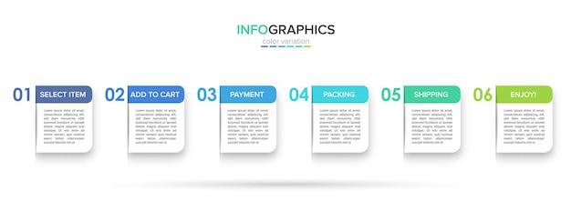 Шаблон для покупок инфографики. шесть вариантов или шагов со значками и текстом.