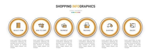 ショッピングインフォグラフィックのテンプレート。アイコンとテキストを含む6つのオプションまたはステップ