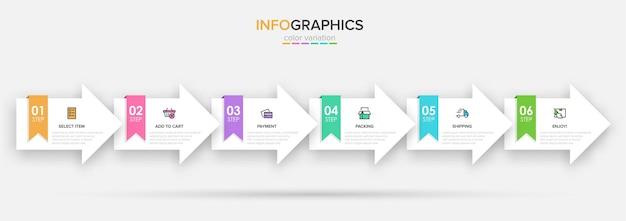 Шаблон для покупок инфографики. шесть вариантов или шагов со значками и текстом