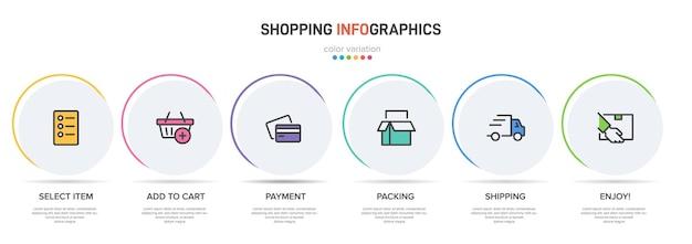 ショッピングインフォグラフィックのテンプレートアイコンとテキストの6つのオプションまたはステップ