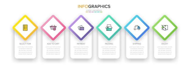 옵션 또는 단계가있는 쇼핑 인포 그래픽 용 템플릿