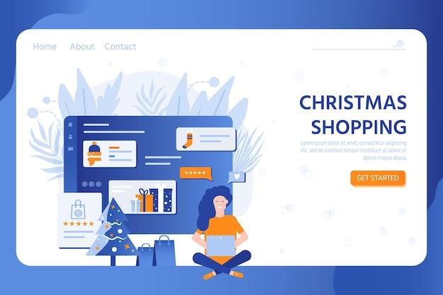 携帯電話でオンラインショッピングするためのテンプレート。新年あけましておめでとうございますとメリークリスマスのセールのコンセプト、ギフト、ショッピングバッグ、装飾用ノートパソコン、雪。ベクトルの休日のバナー