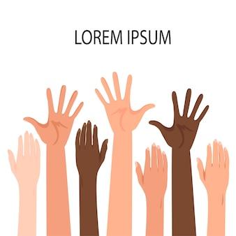 Шаблон для текста с поднятыми руками людей разных национальностей. мультяшный стиль. векторная иллюстрация.