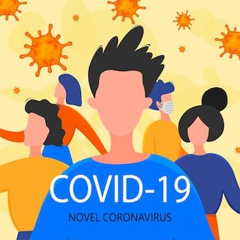 Шаблон для вспышки нового коронавируса 2019-ncov с группой людей. концепция пандемической эпидемиологии. векторная иллюстрация плоский.