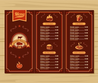 Template for the restaurant menu