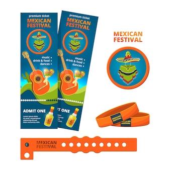 콘서트 또는 축제 파티의 티켓 및 입구 팔찌 템플릿. 콘서트 이벤트 티켓, 멕시코 음악 축제 팔찌