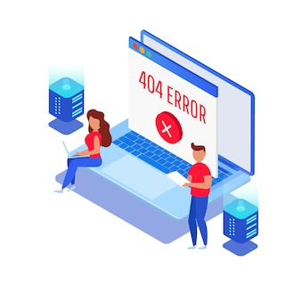 Шаблон для веб 404 изометрической страницы. не работает ошибка, хост не найден