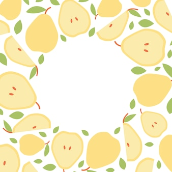 Template frame of pear for social media in flat style.