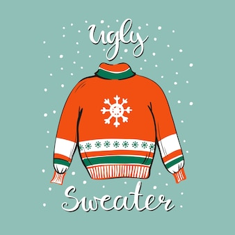 Template of a funny christmas party invitation with illustration of a sweater.