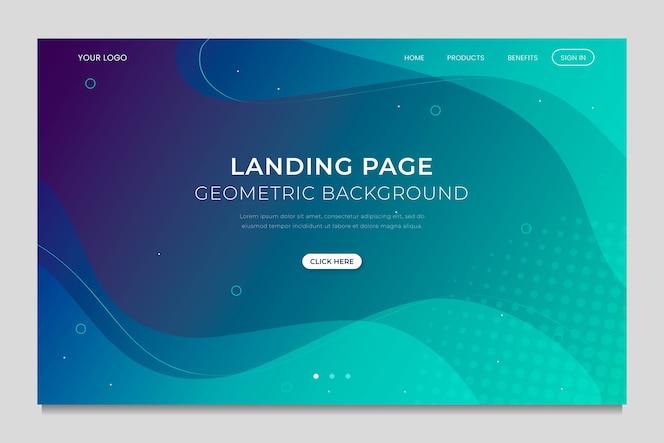 Template geometric minimal landing page