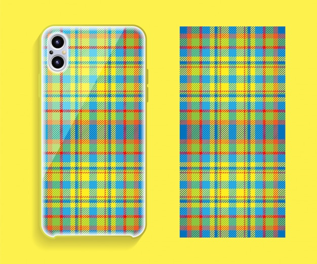 Template geometric pattern for mobile phone back part. flat design.