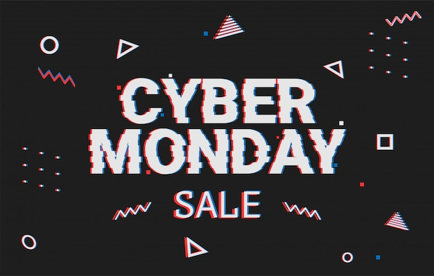 Template  geometric web banner for cyber monday offer. promotion design in glitch style with geometric particle for cyber sale. memphis glitch. 8-bit pixel art style.