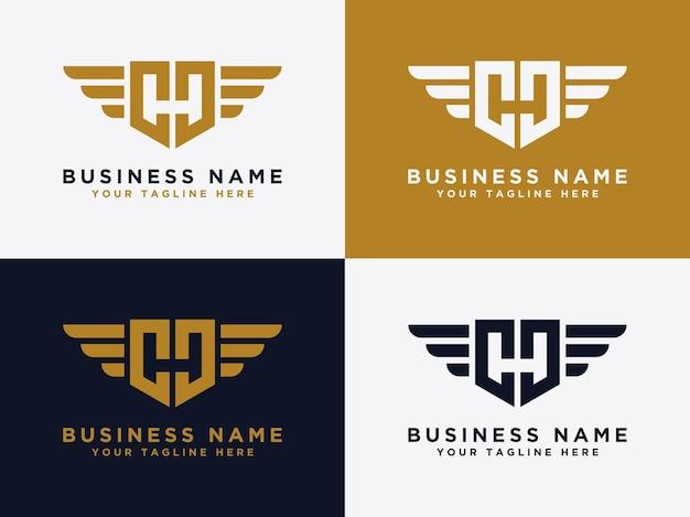 Template gg letter logo design wing design vector
