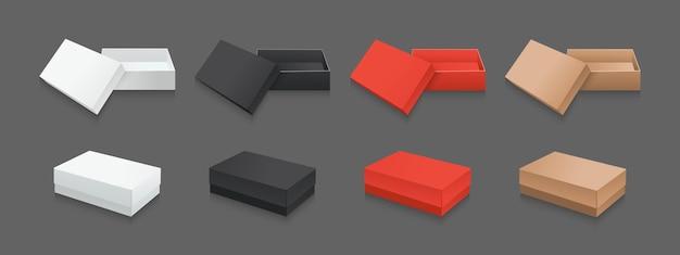 템플릿 선물 상자 3d 세트. 판지 흰색, 검정 및 빨강 현실적인 포장 컬렉션. 골판지 열린 종이 상자 패키지.