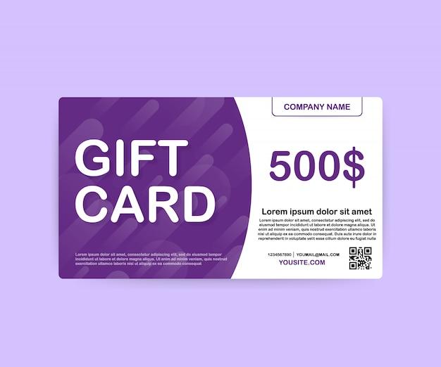 テンプレートギフトカード。 500ドルのバウチャー。