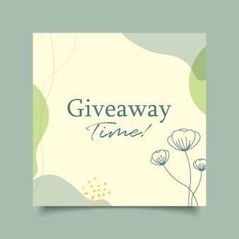 Template give away time minimalist for social media post