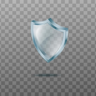Template of glass shield with shadow realistic vector illustration isolated