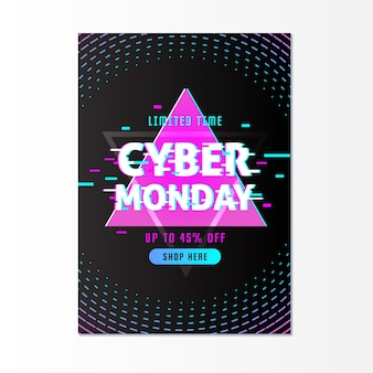 Template glitch cyber monday flyer