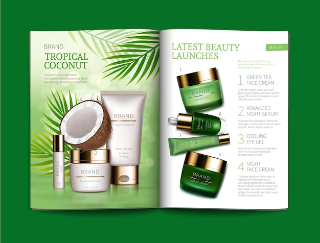 Template for glossy cosmetic magazine.