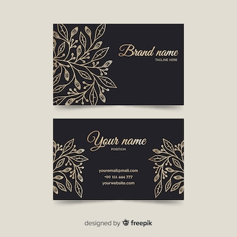Template goden floral business card
