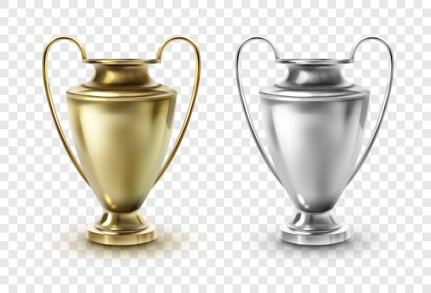 Template of golden and silver football cup, award goblet trophies isolated on transparent background