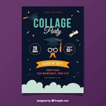 Template of graduation party brochure with geometric forms