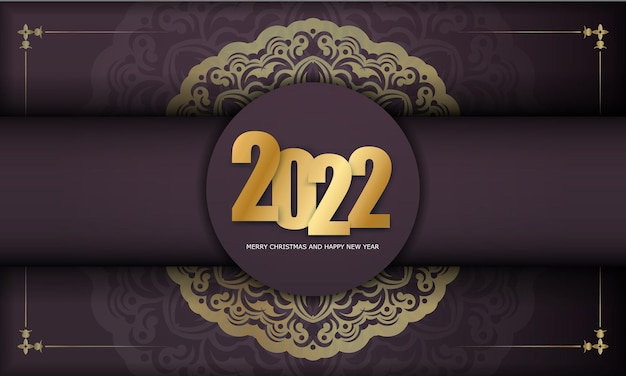 Template greeting brochure 2022 happy new year burgundy color with abstract gold ornament