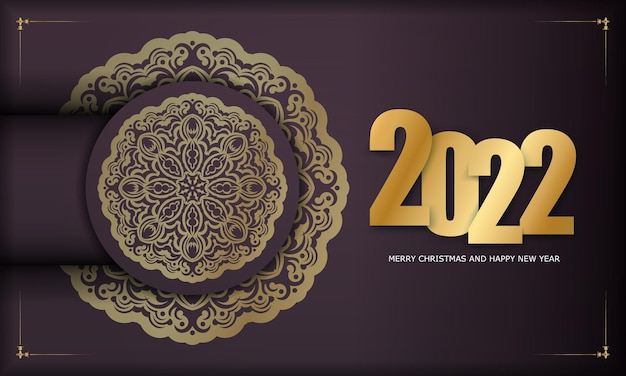 Template greeting brochure 2022 happy new year burgundy color with abstract gold pattern