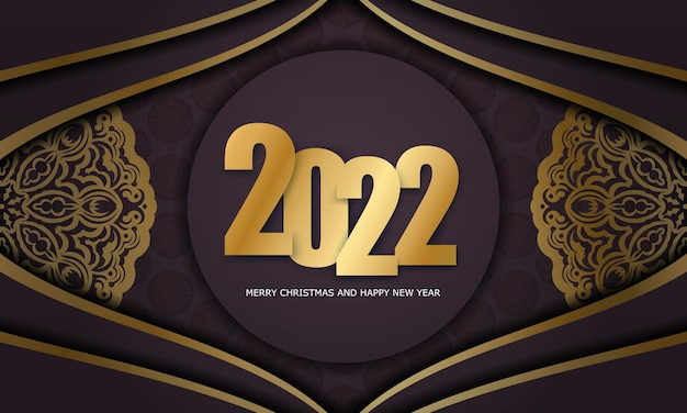 Template greeting brochure 2022 happy new year burgundy color with luxury gold pattern