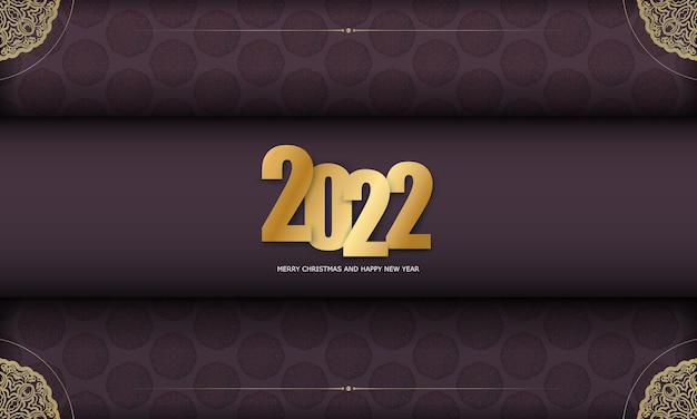 Template greeting brochure 2022 happy new year burgundy color with vintage gold ornament