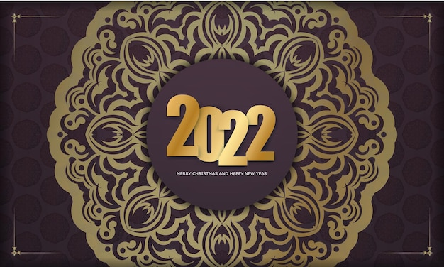 Template greeting brochure 2022 happy new year burgundy color with vintage gold pattern