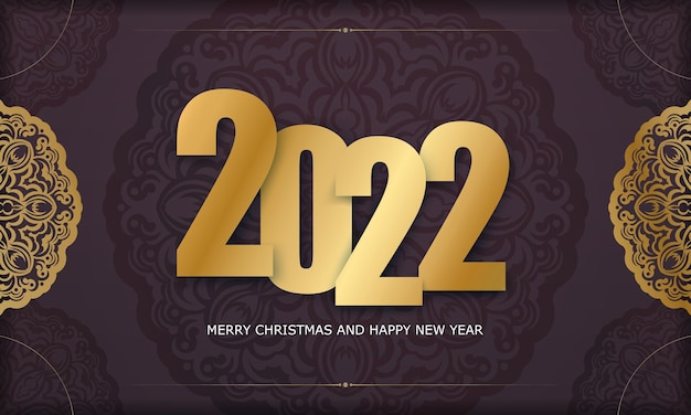 Template greeting brochure 2022 happy new year burgundy color with winter gold ornament