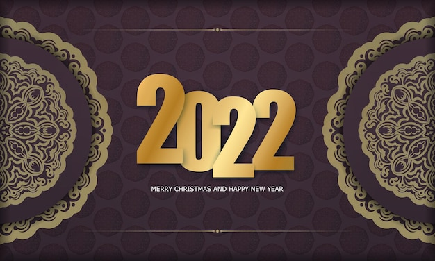 Template greeting brochure 2022 happy new year burgundy color with winter gold pattern