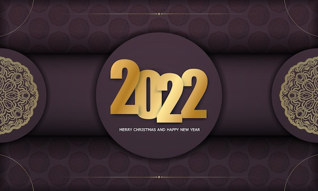 Template greeting brochure 2022 merry christmas burgundy color with abstract gold ornament