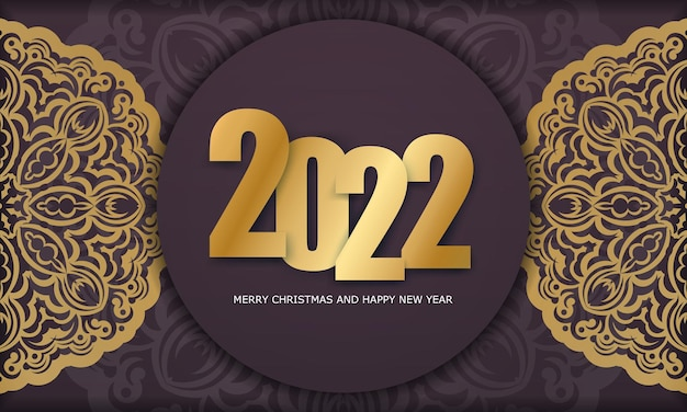 Template greeting brochure 2022 merry christmas burgundy color with abstract gold pattern