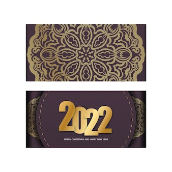 Template greeting brochure 2022 merry christmas burgundy color with luxury gold pattern
