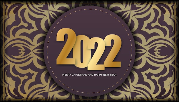 Template greeting brochure 2022 merry christmas burgundy with luxury gold ornaments