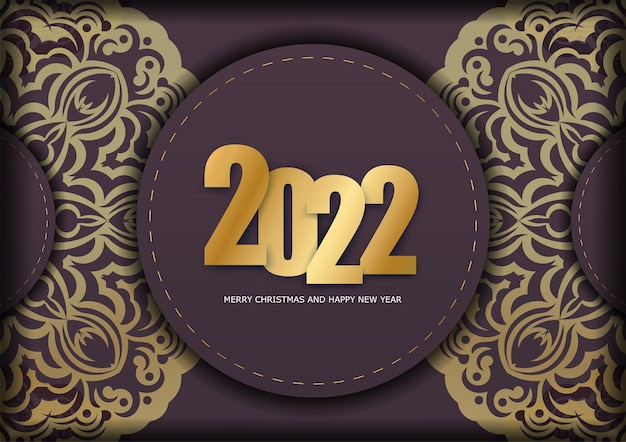 Template greeting brochure 2022 merry christmas and happy new year burgundy color with abstract gold ornament